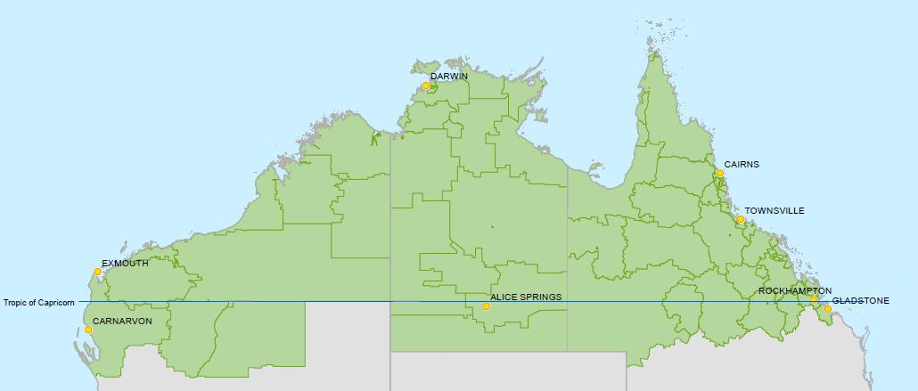 Bản đồ Bắc Úc - Gia hạn visa work and holiday